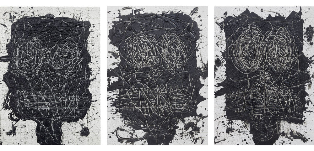 "Three untitled works in ""Anxious Men."" CreditRashid Johnson/Hauser & Wirth"