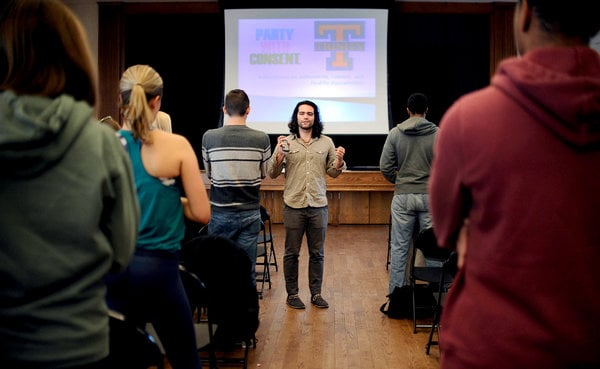 Jonathan Kalin, the founder of the organization Party With Consent, talks to freshmen at Trinity College in Hartford. Jessica Hill for The New York Times.