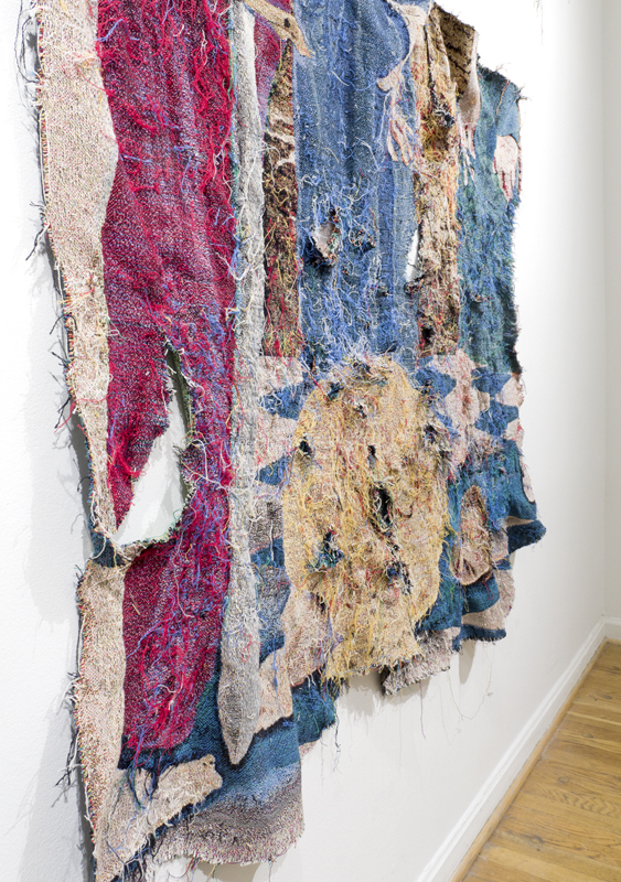 High Drama (detail), 2015,  tapestry fragments woven on computerized loom From Fragmentia