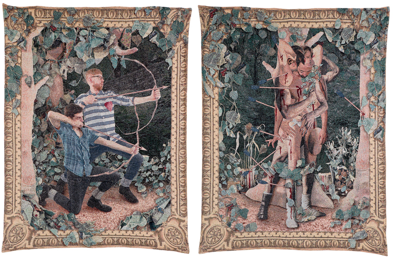 The Archers & The Quarry, made in collaboration with Aaron McIntosh, 2014, pair of jacquard tapestries. From Strange Terrain.