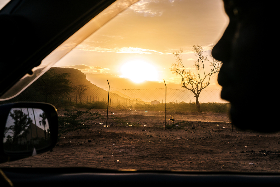 The sun sets over Lodwar, in northwestern Kenya, near where the Kakuma Refugee Camp is located. Kakuma is home to 182,000 refugees from all over the region, including many homophobic countries. Around 100 LGBT refugees from Uganda also call it home.
