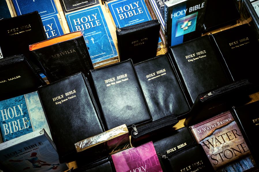 Bibles for sale on the streets in Nairobi. Advocates believe that the increasing prevalence of evangelical christians has led to an increase in homophobia.