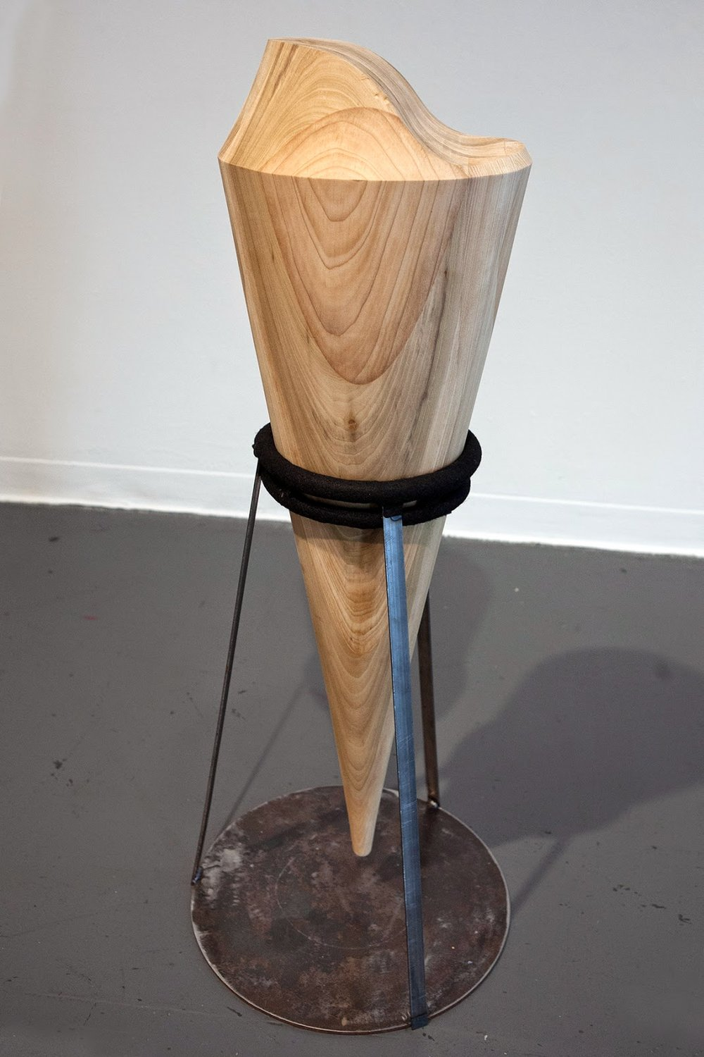 "Spinning Top, Body Extension Wood, Steel, & Felt 40"" x 16"" x 16"" 2014"