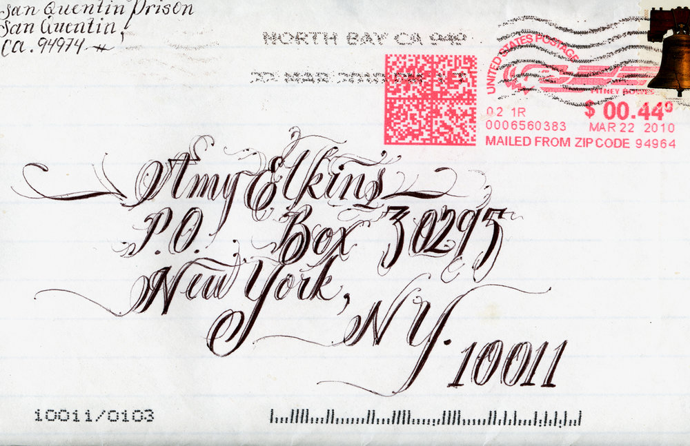 Envelope Art Sent from Death Row, San Quentin