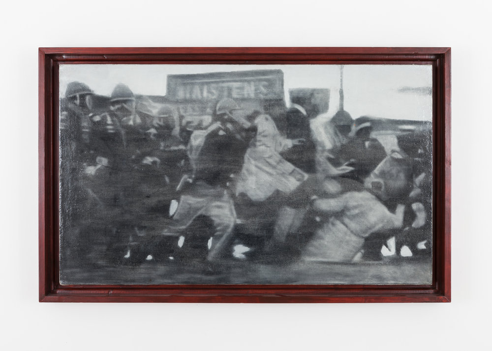 Jason Patterson Edmund Pettus Bridge, Selma, AL, March 7th, 1965, Bloody Sunday (Modeled after Caravaggio's 'The Taking Of Christ', 1602) Spray fixed soft pastel & charcoal on raw canvas under self leveling clear gel 2010