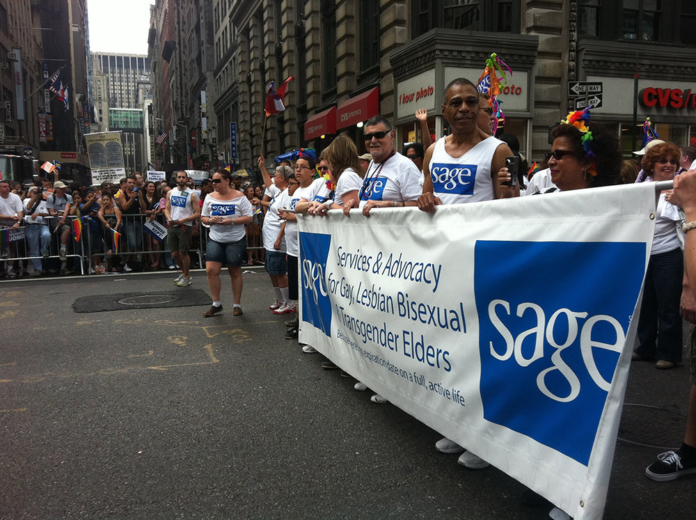 "Ty, a subject of ""Before You Know It,"" marching with  SAGE (Advocacy and Services for LGBT Elders) . Photo by Mike Simpson."