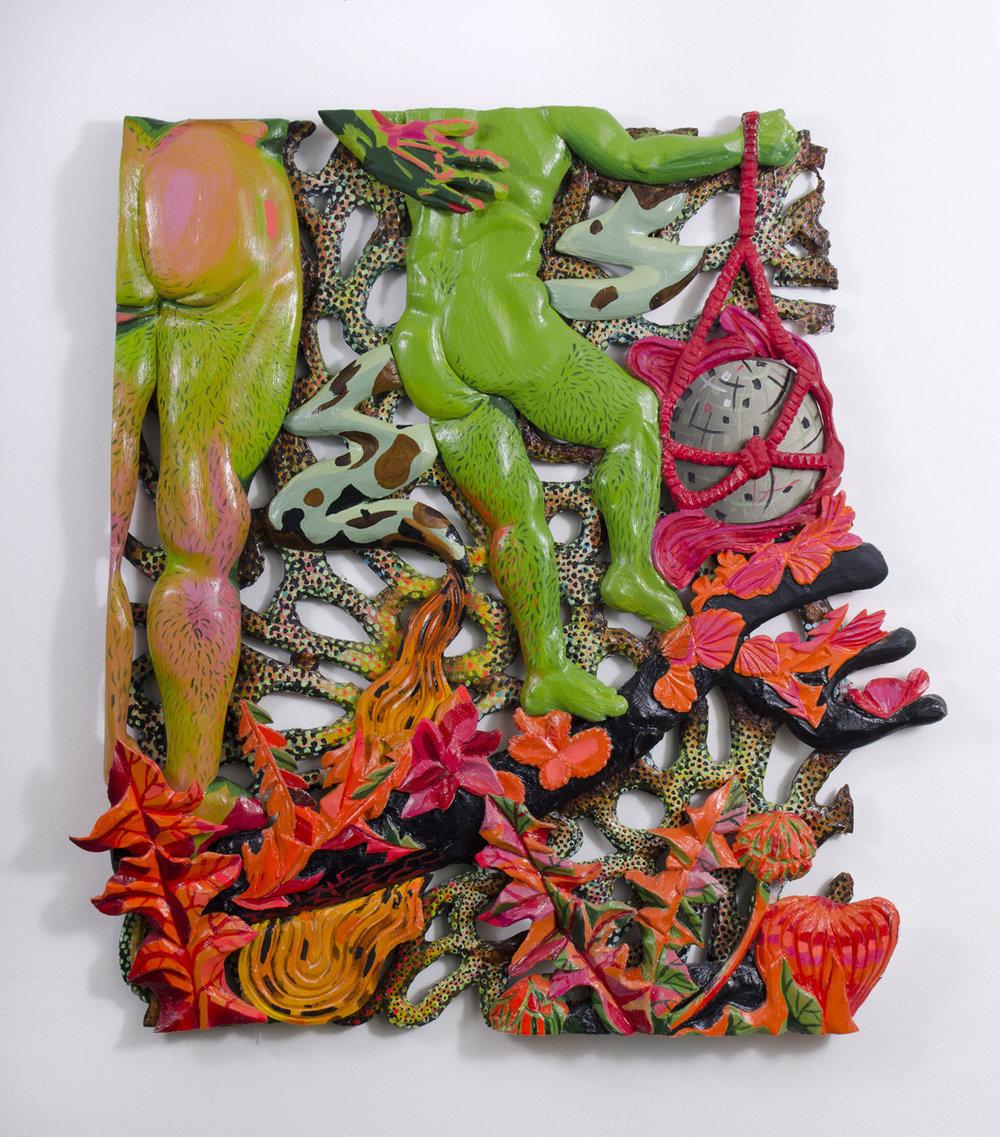 For Us Weeds, 2016 Foam, plaster, fiberglass, acrylic, gel media, lamé on panel 50 x 46 x 4