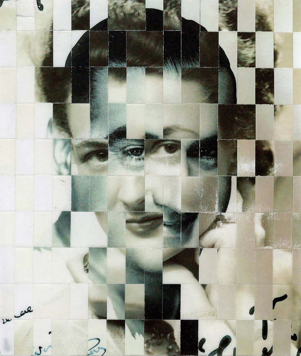 Left:   10,000 Faces , Handwoven Photographs on Birch Ply  Right:   65 Years , Handwoven Photographs on Birch Ply