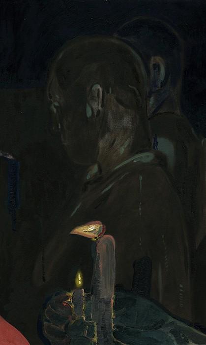 """vigil 2,  oil on canvas, 18"""" x 30"""", 2017"""