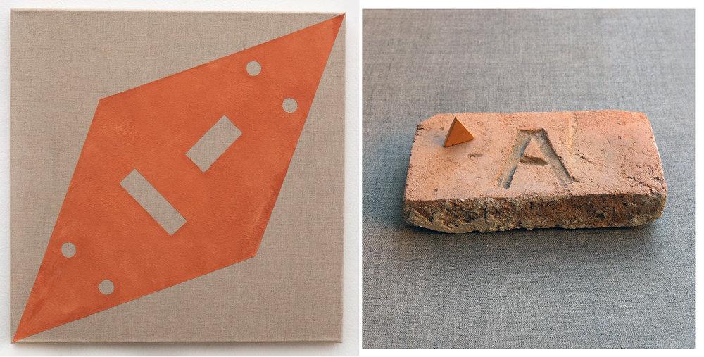 AΔ , Brick dust and acrylic on canvas 45 x 45cm and White primed canvas 50 x 70cm.  AΔ , Sanded brick, 4.5 x 21 x 11cm with triangle (sanded brick, 2.7 x 3cm