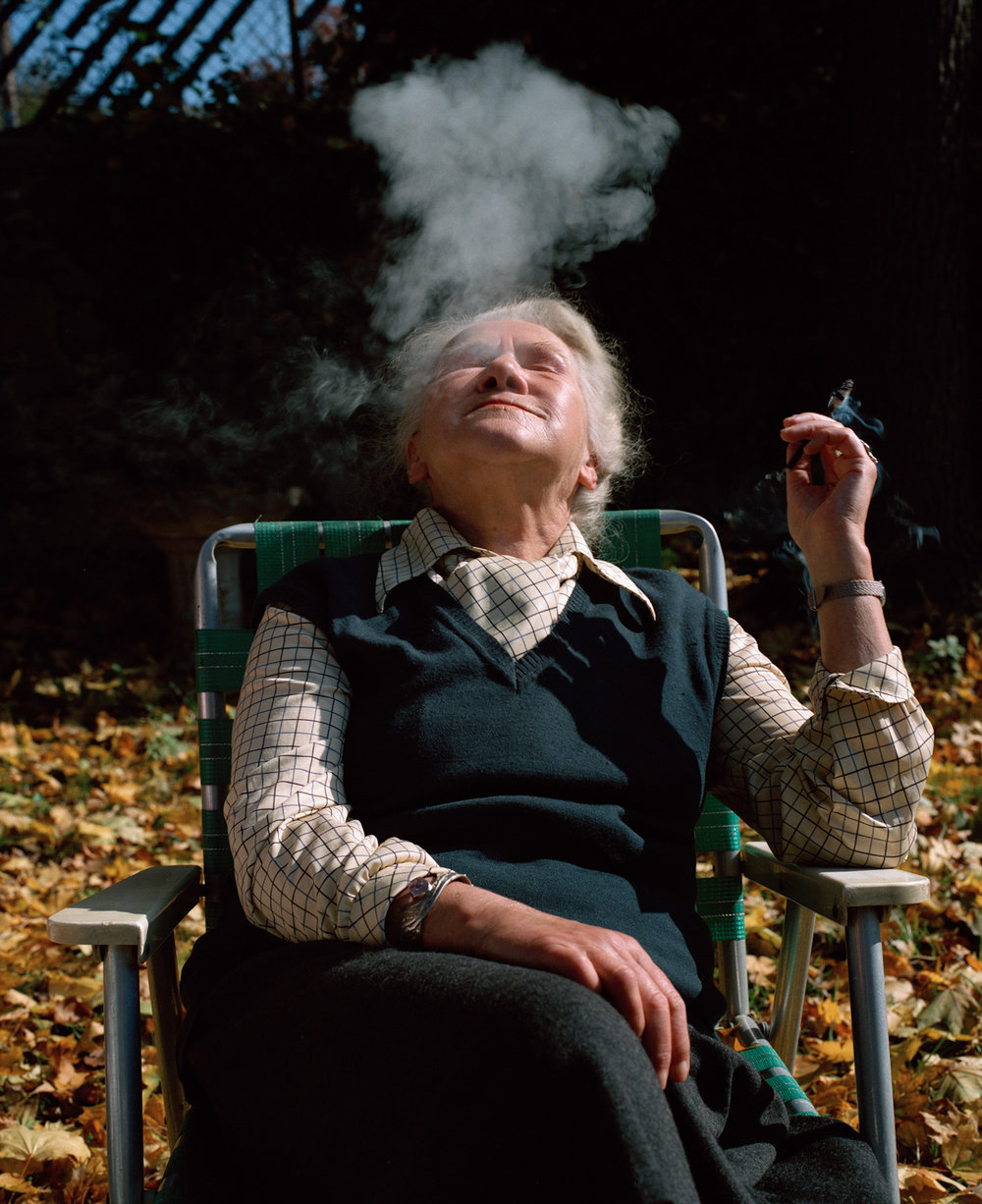 Zofia Baniecka, Poland,  from  Rescuers    Zofia smoked like this, lighting one cigarette from another, during the entire interview. She spoke Polish and was probably bored when our translator imparted her words to us. She was a committed and brave woman, hiding Jews in her flat as well as guns for the resistance, later being jailed several times as she always worked for a free Poland.