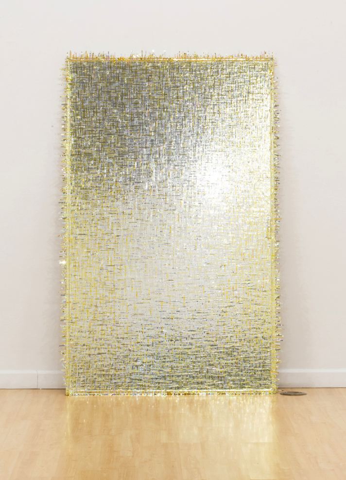 "Gilded Panel , 2014 Angie Seykora Tinsel, Scotch tape, Plexiglass, aluminum 84""x53"""
