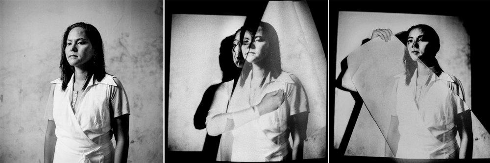 Time Twin (Triptych), Self-Portrait as Angie, Lima, Peru 1979 / Lima, Peru 2014 / Claremont, CA, 2018