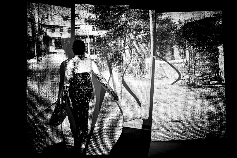 (Sites of Violence) Self Portrait as Walking Woman with Bag (Cut 2), September 1979, Lima, Peru/ Claremont, CA, 2018