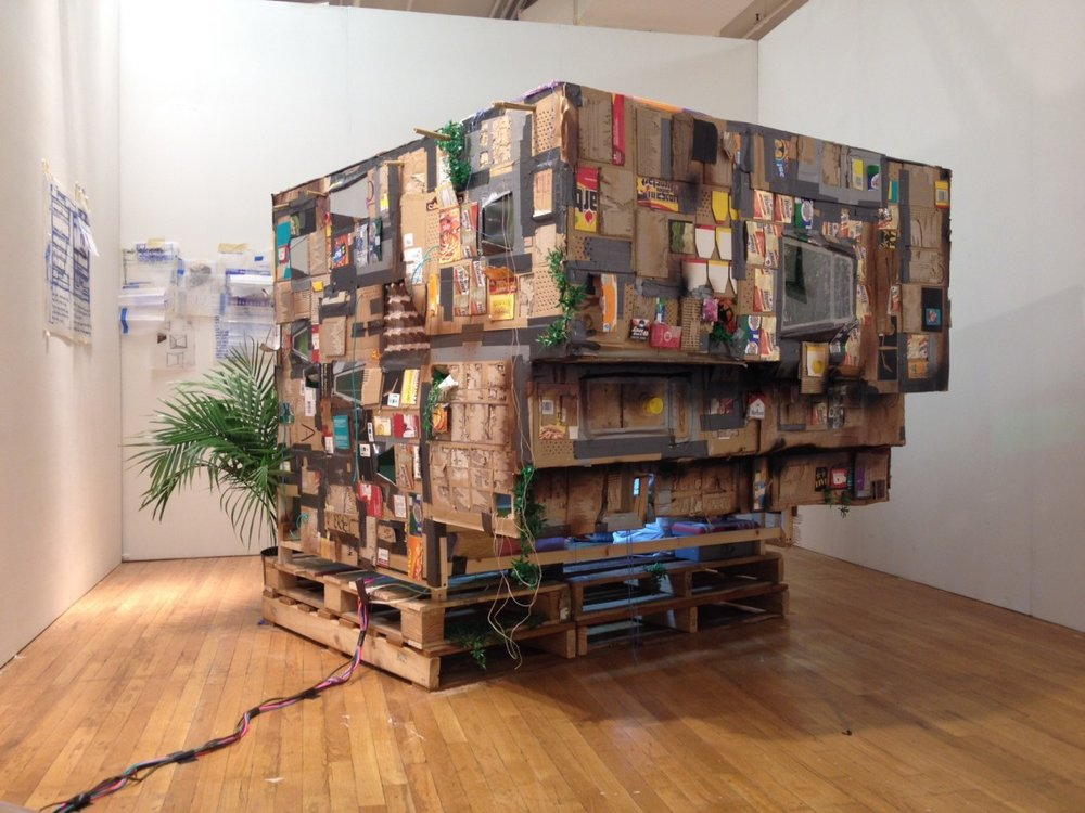 "Installation view, Simon Vega, ""The Whitney Museum of Central American Art, a Post-Apocalyptic Dream"""