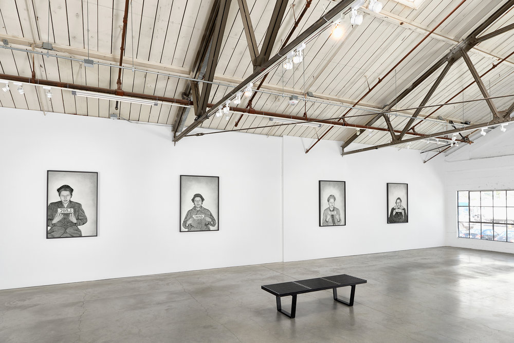 Mugshot Portraits, installation view, 2018 Rena Bransten Gallery, San Francisco, CA