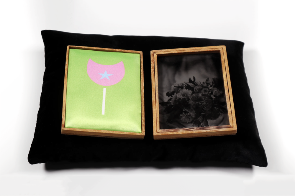 Osun (Offering  series, 20017 - 2019.) Tintypes, heated press print, Iroko wood, velvet cradle