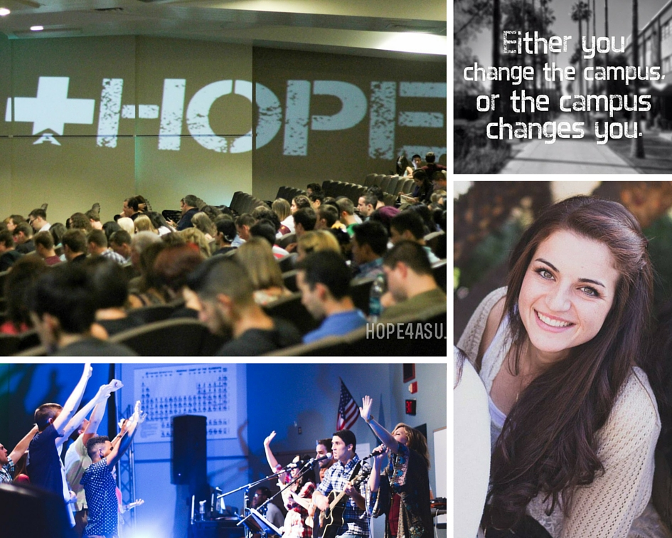 Hope Christian Church Campus Ministry,  located in Tempe, is uniquely positioned to reach the 85,000+ students who attend ASU. Every month we financially support Jenny Gladstone who is a campus minister / on-site missionary.  hope4asu.org