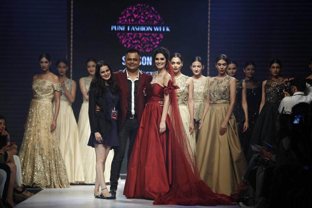 Actress Bruna Andullah as showstopper with Designer Nitya Bajaj