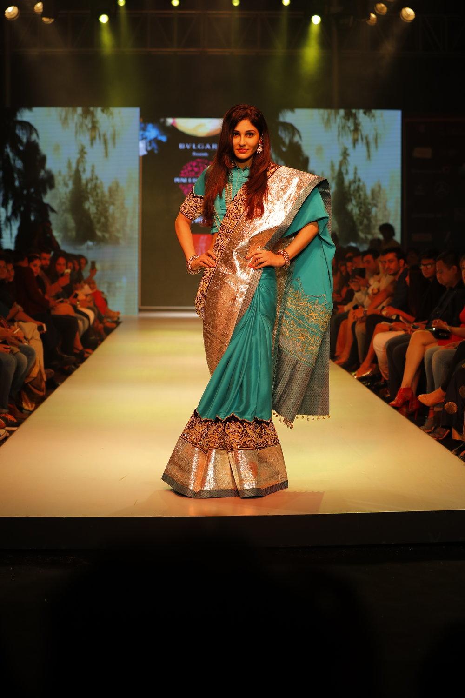 Actress Pooja Chopra as showstopper for Designer Ashok Maaney