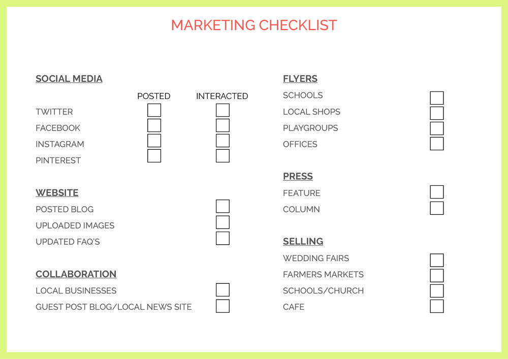 MARKETING CHECKLIST -