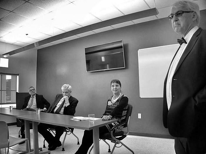 Q&A session with students: Dr. Anton Fink (left), Ambassador Manz, Dr. Karin Liebhart, and Dr. Guenter Bischof