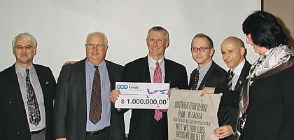 from left: Dr. Günter Bischof, Dr. Bobby Dupont, UNO Chancellor Timothy Ryan, Wolfgang Stoiber, Eugen Stark, Ambassador Eva Novotny