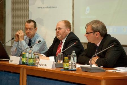 From left: Daniel Gros, Adam Posen, Wolfgang Muenchau