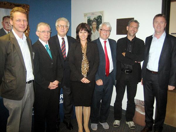 From left: Franz Roessler, Ronald Hall, Wolfgang Petritsch, Elisabeth Springler, Guenter Bischof, Martin Heintel, Jodok Schaeffler.