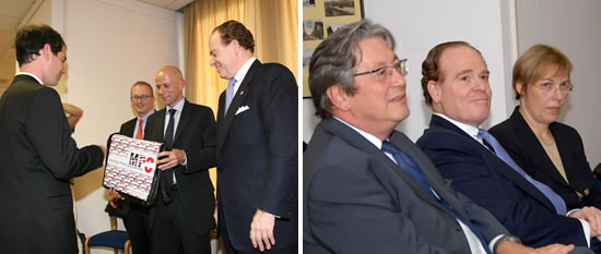 Left: Awardee with Wolfgang Stoiber, Eugen Stark and Ambassador David Franklin Girard-diCarlo. Right: Ferdinand Lacina, Ambassadaor David Franklin Girard-diCarlo, Karin Schmid-Gerlich