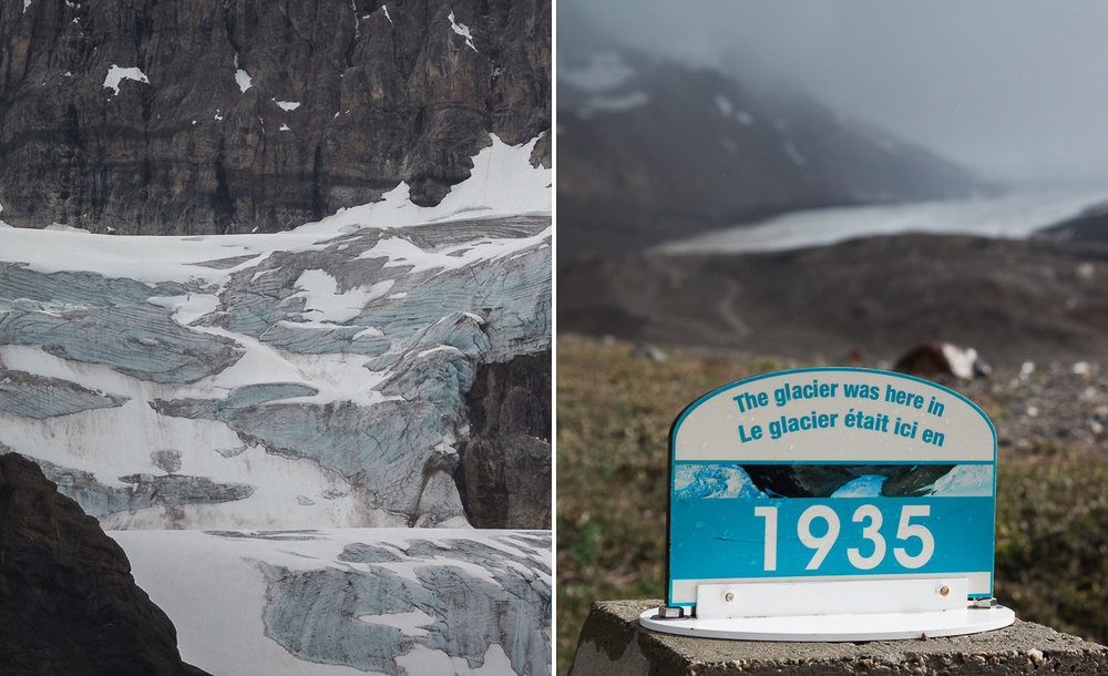 Left: Crowfoot Glacier. Right: An indicator of the dramatic retreat of Athabasca Glacier.