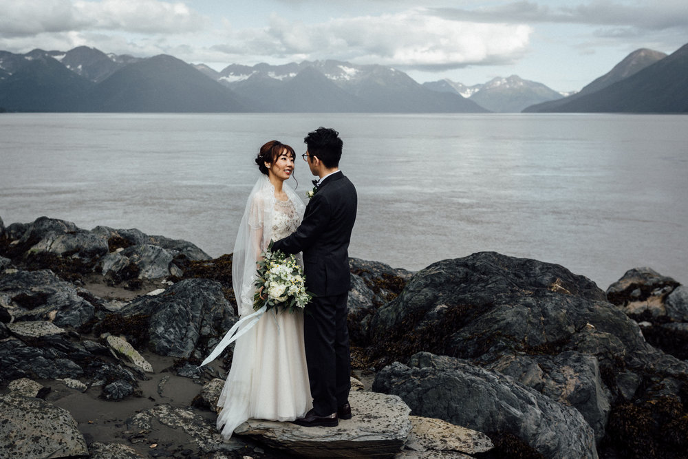 Couple eloping in Alaska in summertime