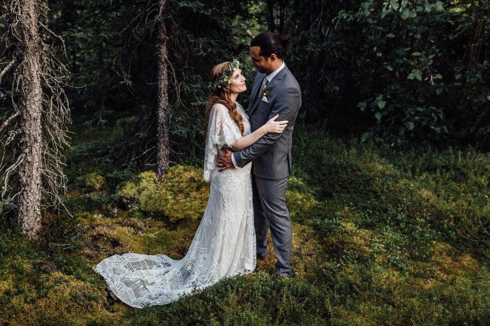 Intimate portrait in mossy Alaskan forest