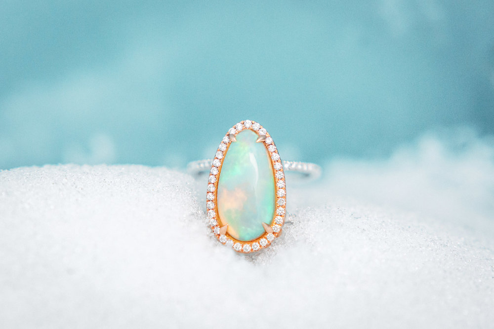 Opal ring in ice