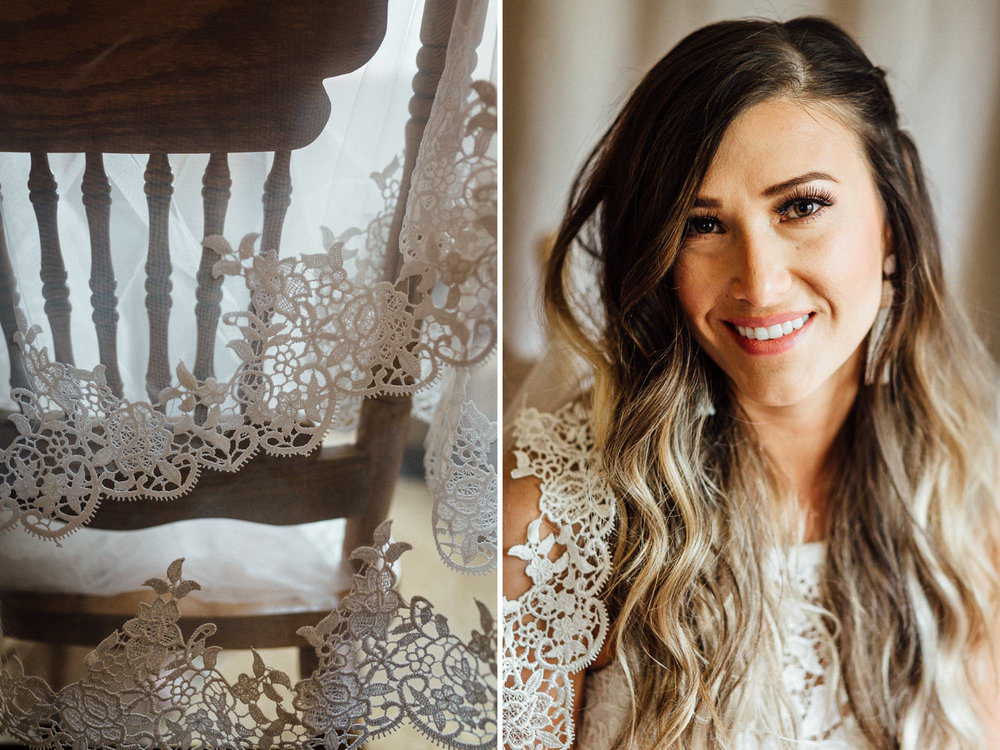 Veil hanging over chair and smiling bride