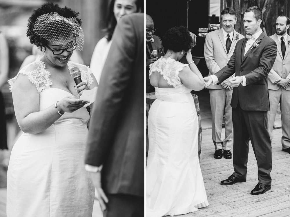 Alaska bride reading her vows