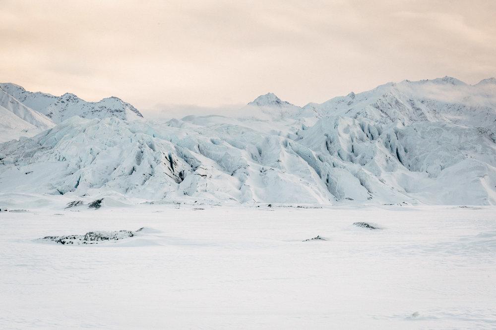 Winter sunset at Alaskan glacier