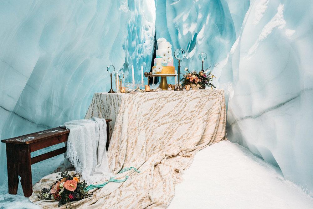 Styled shoot in Alaskan glacier cave