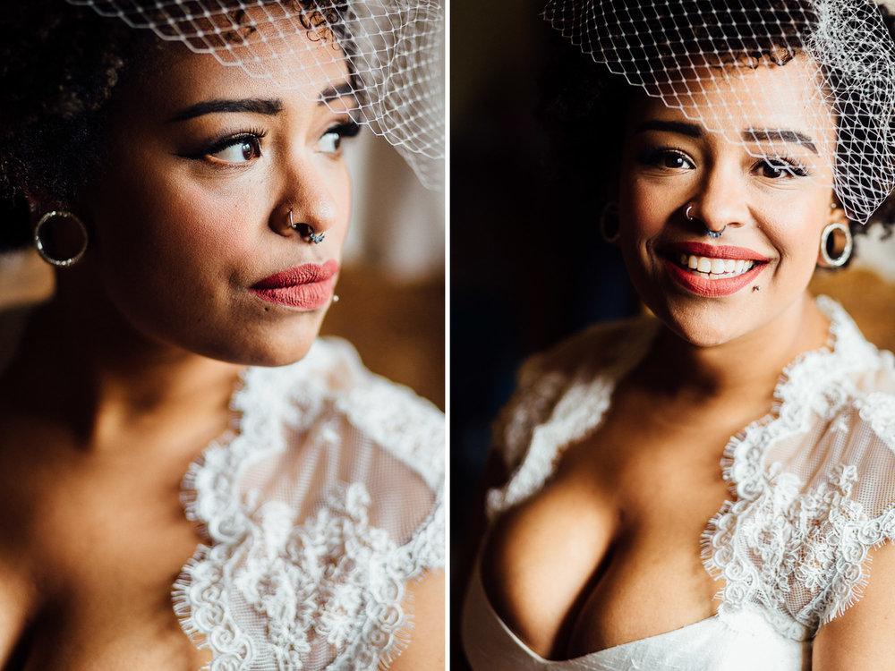 Portrait of bride wearing birdcage veil