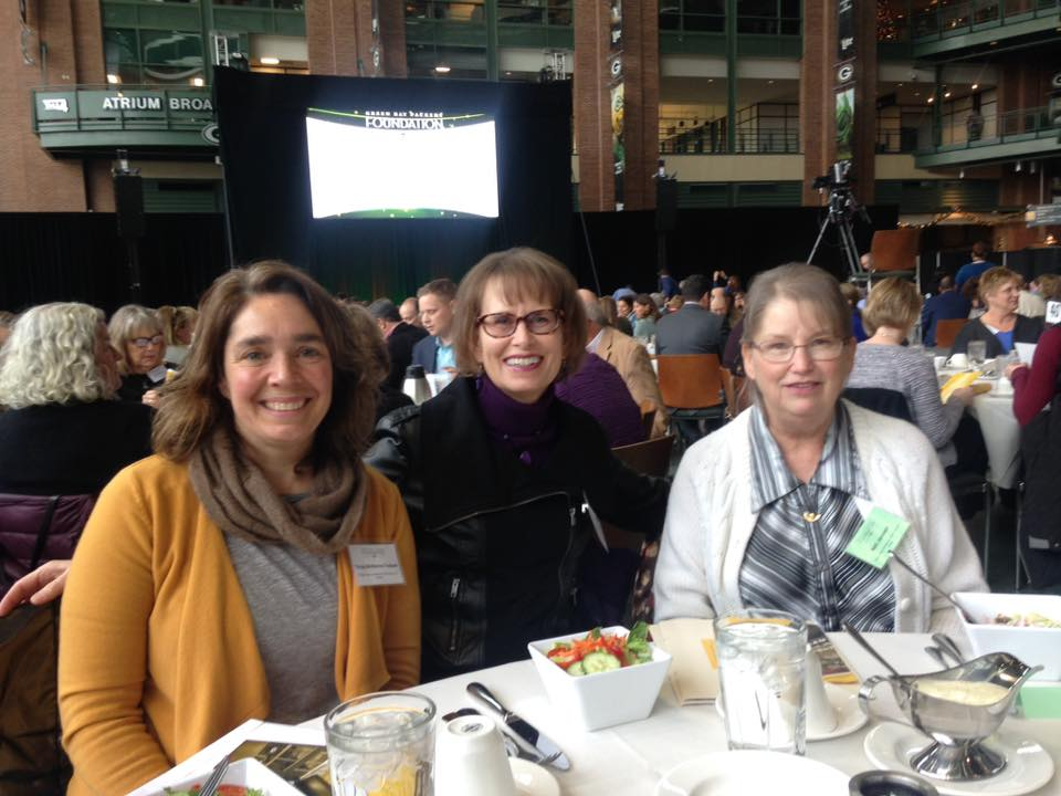 Go Green Bay! - Tonya, Kris, and Nett attended a reception to accept the grant on behalf of the pantry!   #packersgiveback
