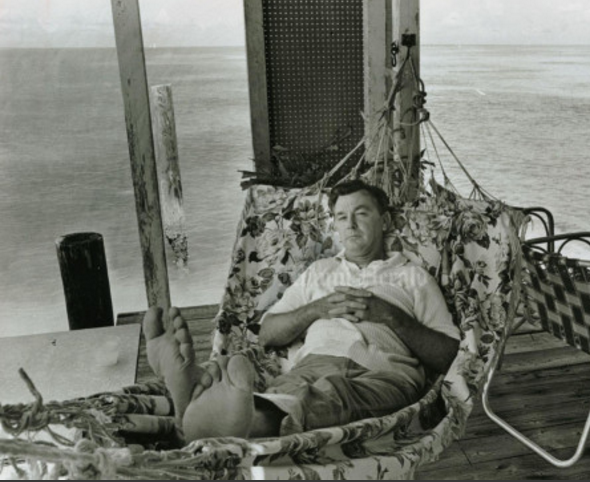 Photo: Miami Herald, April 1965 - Judge Francis Knuck at his Stiltsville house
