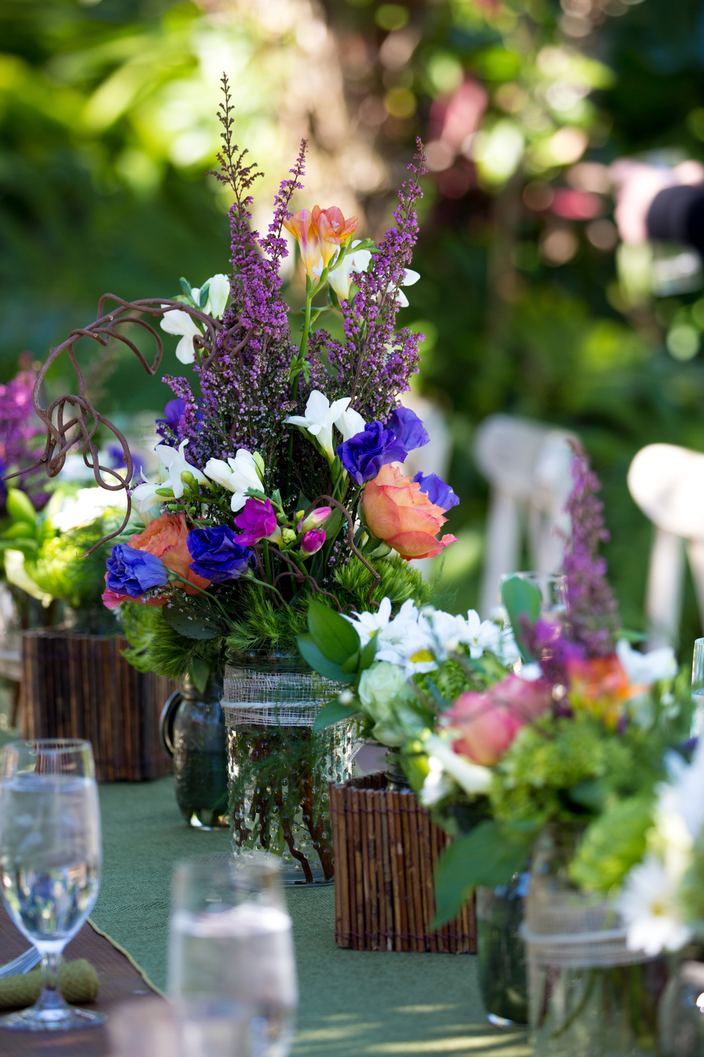 Magnificent floral arrangements as table center-pieces, from The Flower Bazaar