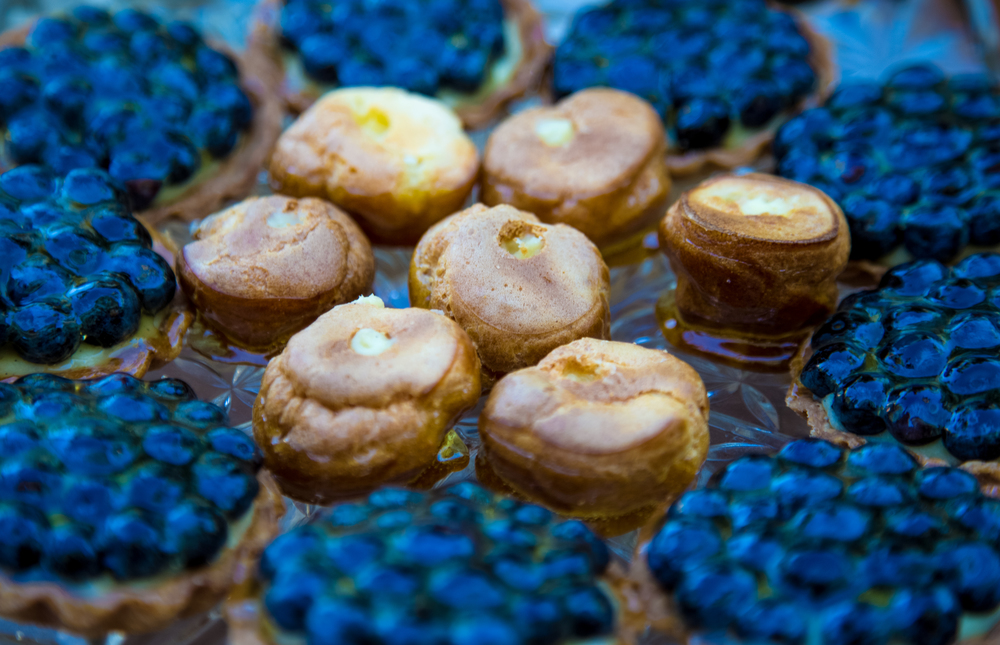Caramel Glazed Pates Aux Choux with Tahitian Vanilla Pastry Cream, and Organic Blueberry Tartelettes