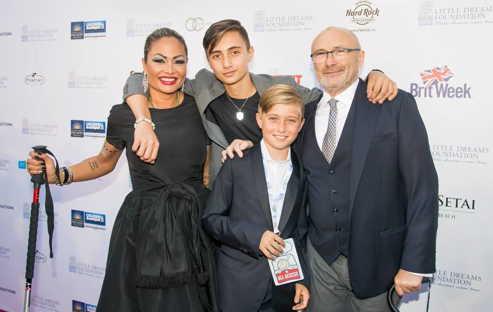 Phil & Orianne Collins with their sons, Matthew & Nicholas. Photo: Magical Photos/Mitchell Zachs