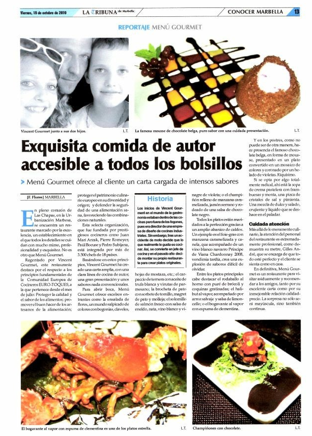 Article in La Tribuna de Marbella (Spain)