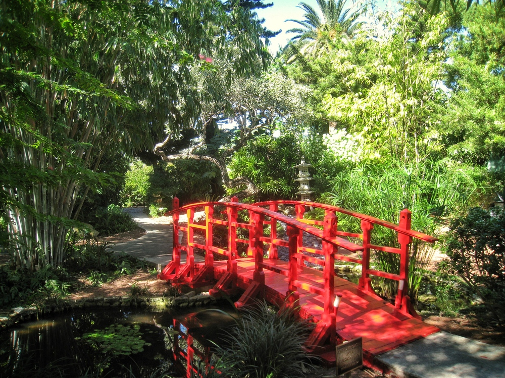 A bright red bridge crosses over the small pond in the Japanese Garden at the Miami Beach Botanical Garden, a private, serene setting for photography and events.
