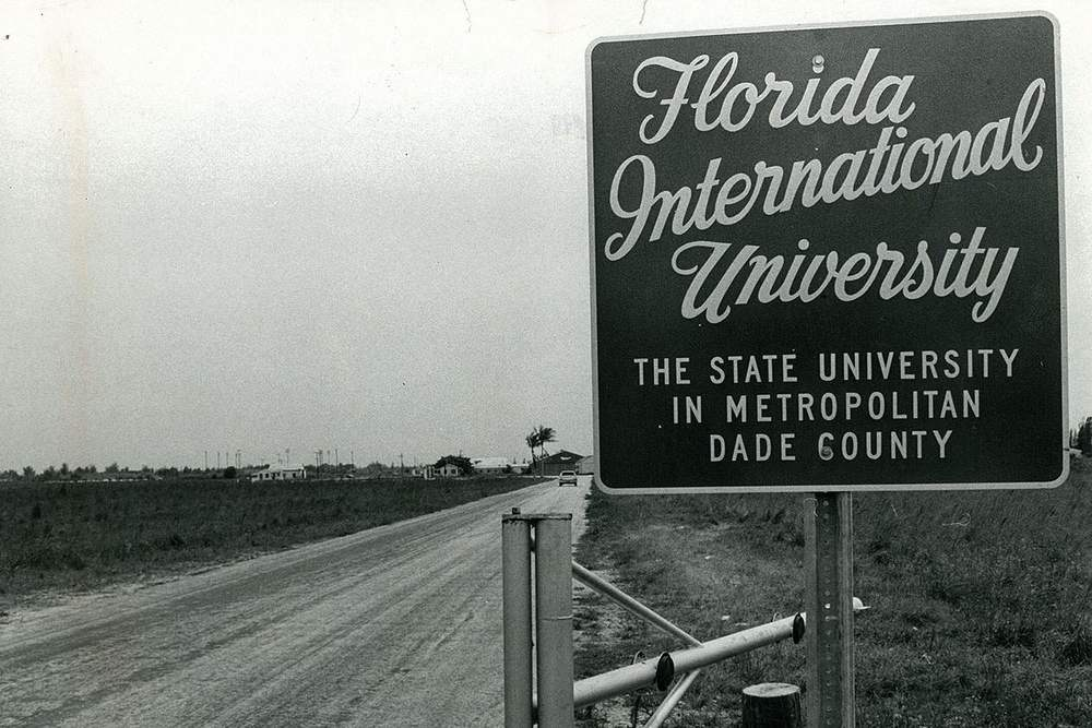 The entrance to Florida International university in the 1960s