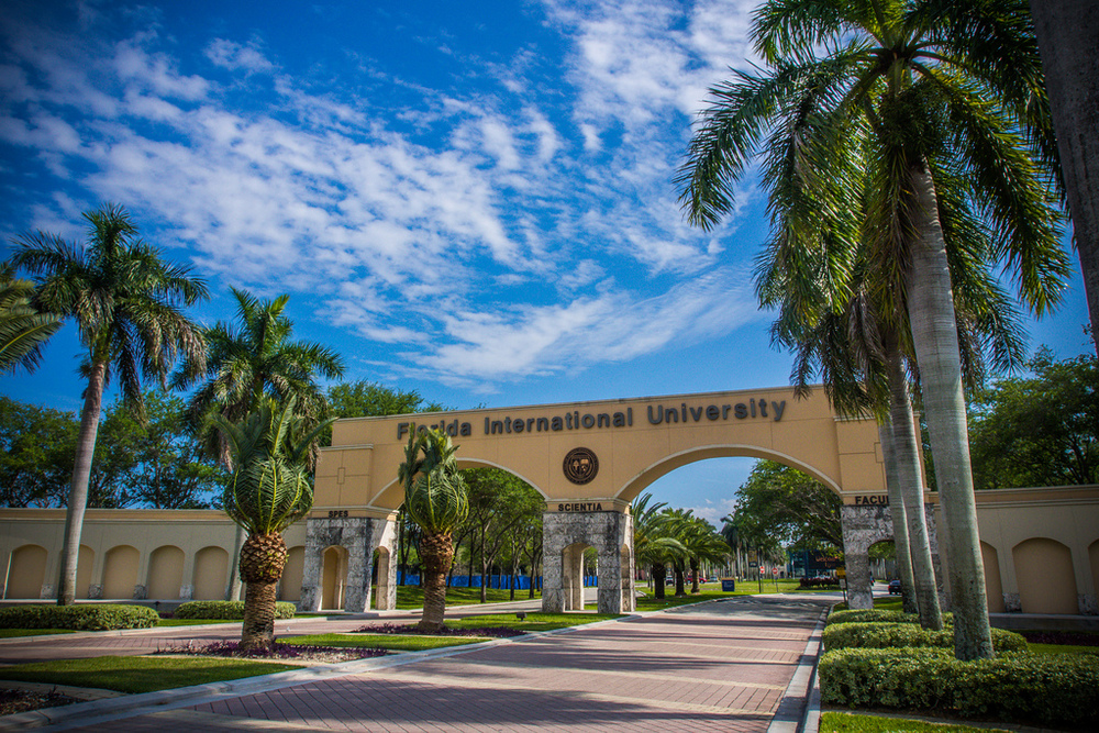 The entrance to Florida International University today