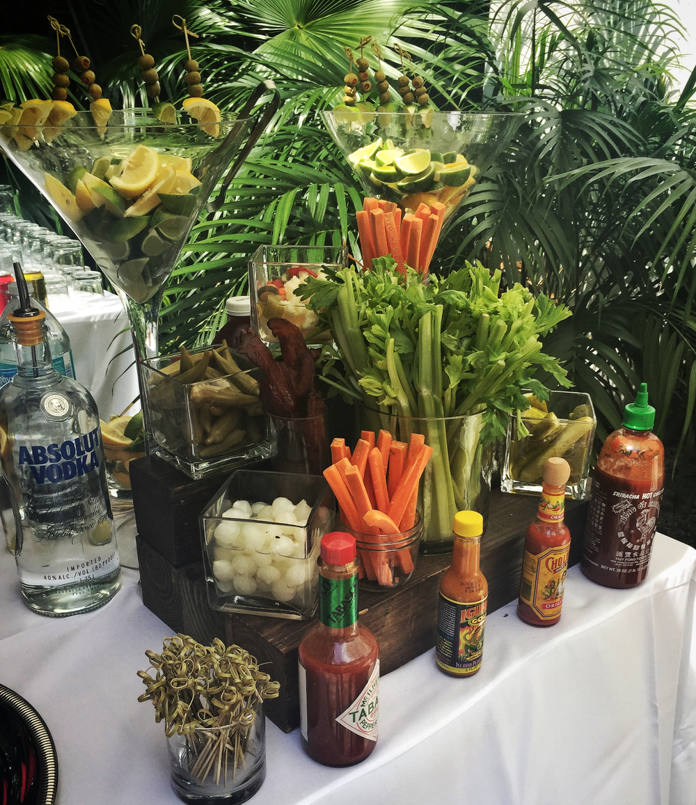 """Bloody Mary Bar"" at a Sunday wedding brunch in Coconut Grove!"
