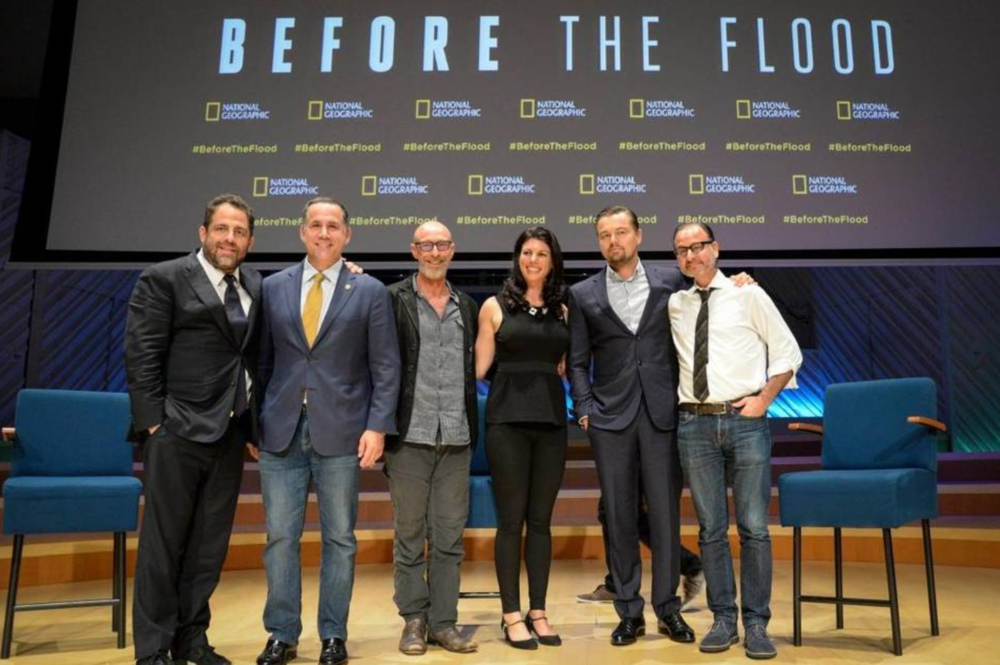 From left to right: Producer Brett Ratner; Miami Beach Mayor Philip Levine, University of Miami marine anthroplogist Kenny Broad, Miami Waterkeeper executive director Rachel Silverstein, actor/producer Leonardo DiCaprio, Director Fisher Stevens after Tuesday night's panel discussion at The New World Center. Photo: City Of Miami Beach / Miami Herald